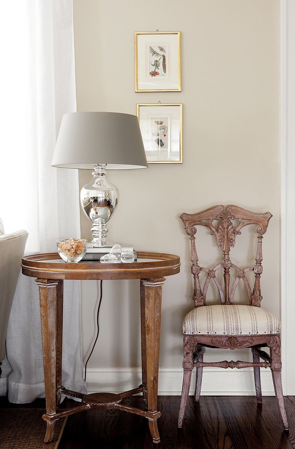 Westwood Hills Bungalow | Amanda Steiner Design | Side Table Lamp and Chair