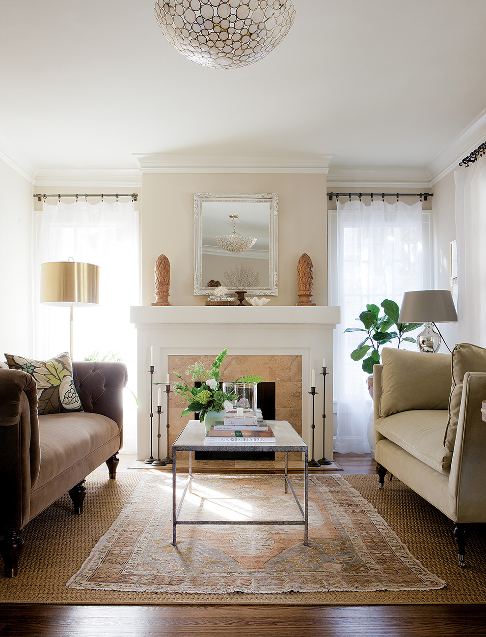Westwood Hills Bungalow | Amanda Steiner Design | Living Room with Hearth and Light
