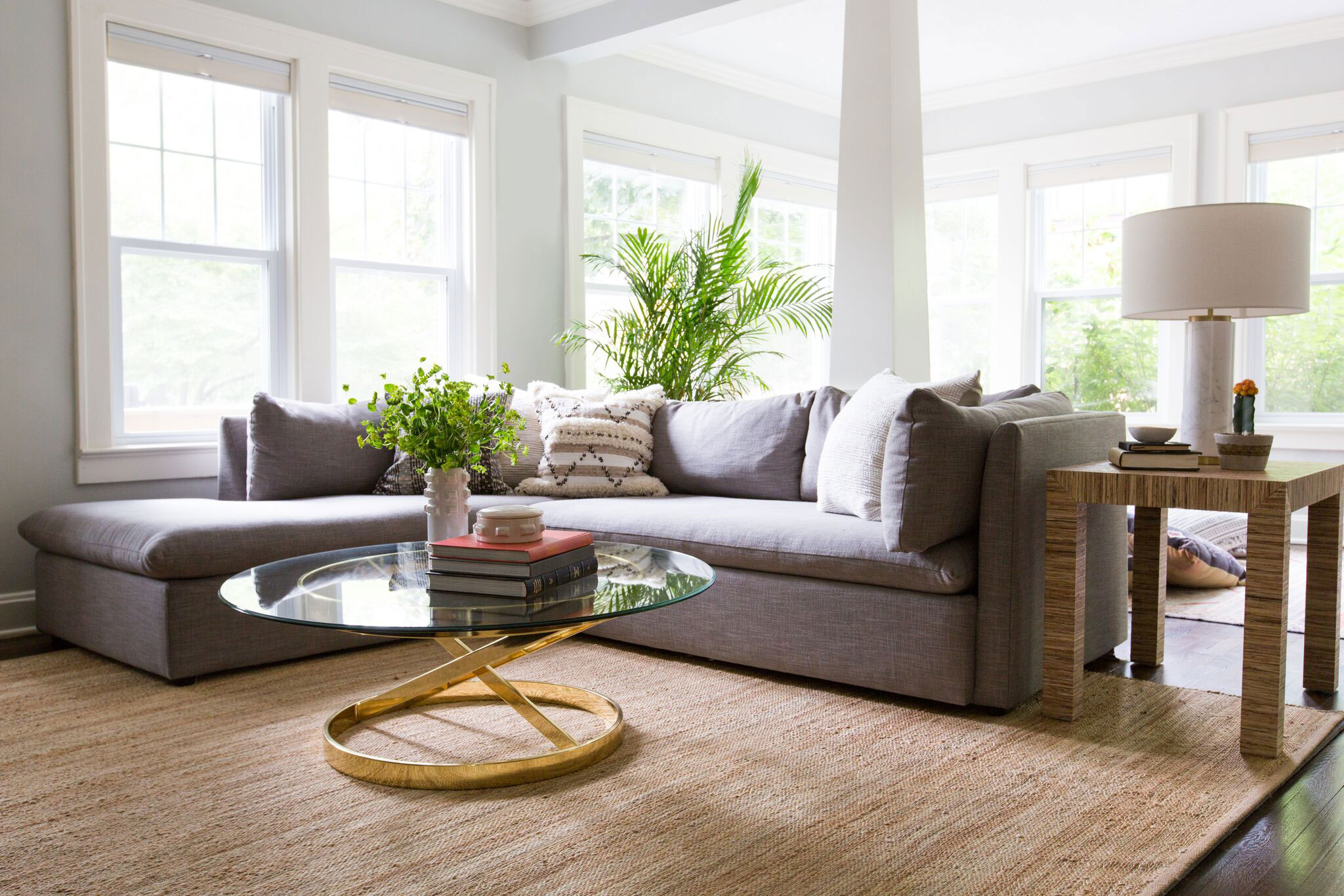 Brookside Living | Amanda Steiner Design and Coveted Home | Blue Gray Sectional and Vintage Coffee Table
