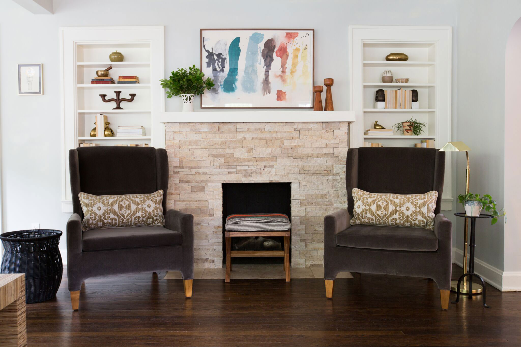 Brookside Living | Amanda Steiner Design and Coveted Home | Fireplace Setting