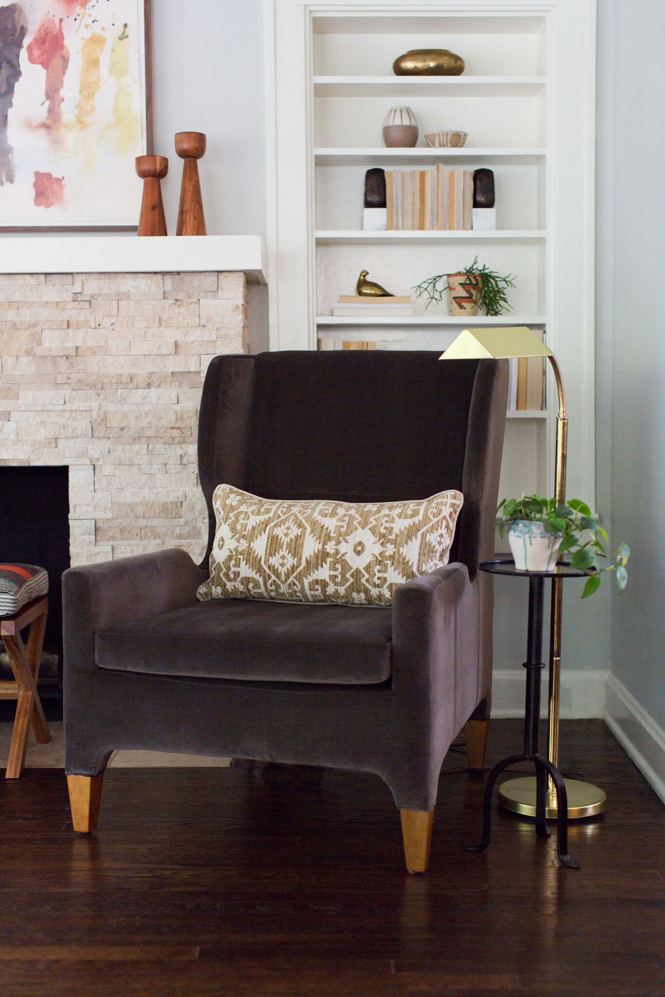 Brookside Living | Amanda Steiner Design and Coveted Home | Modern Velvet Wingback Chair
