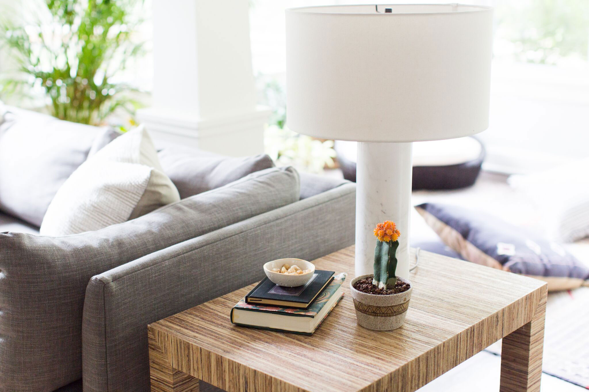 Brookside Living | Amanda Steiner Design and Coveted Home | Textured Side Table and Marble Lamp