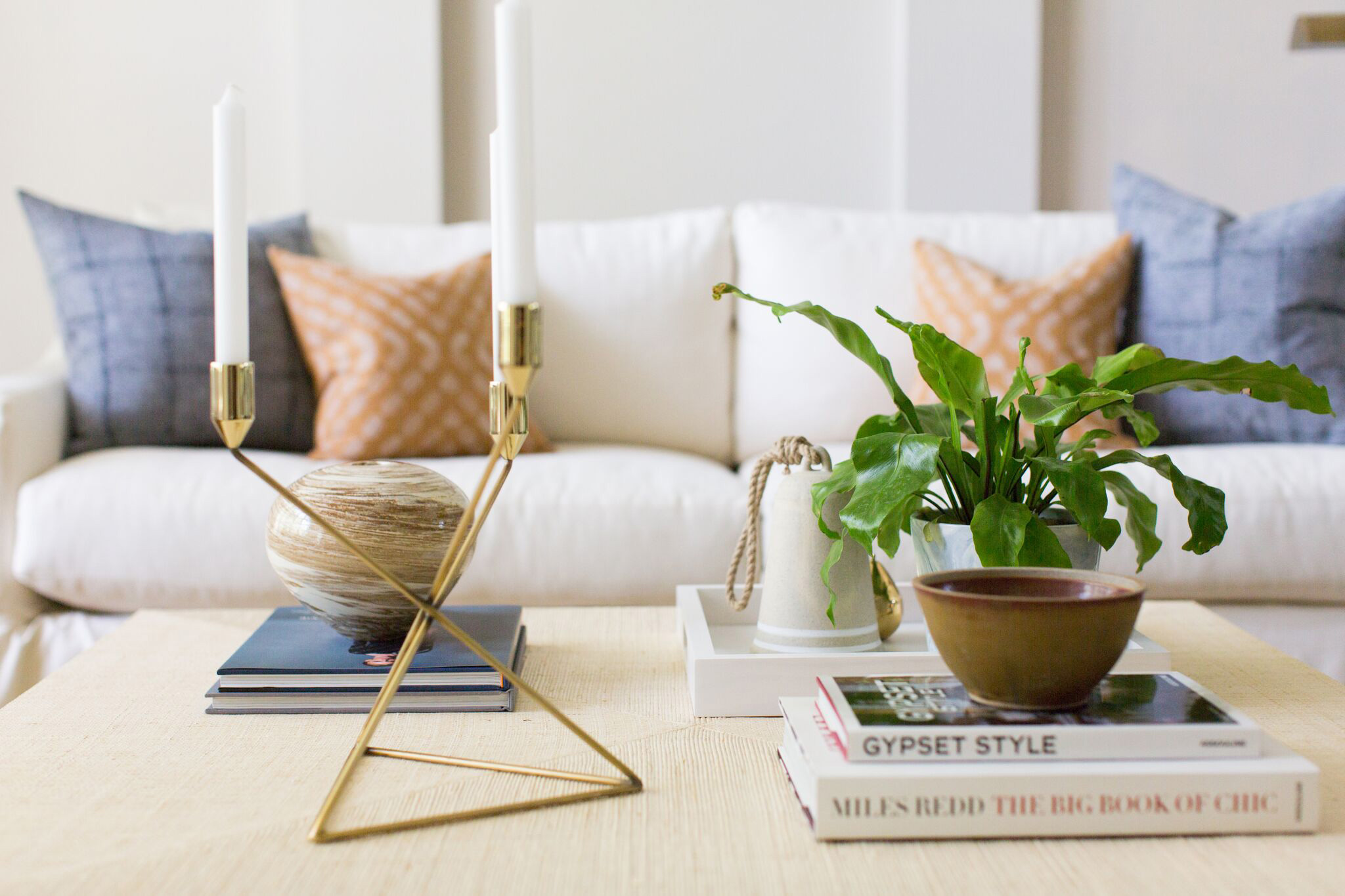 Hallbrook Living | Amanda Steiner Design | Grasscloth Coffee Table and Accessories
