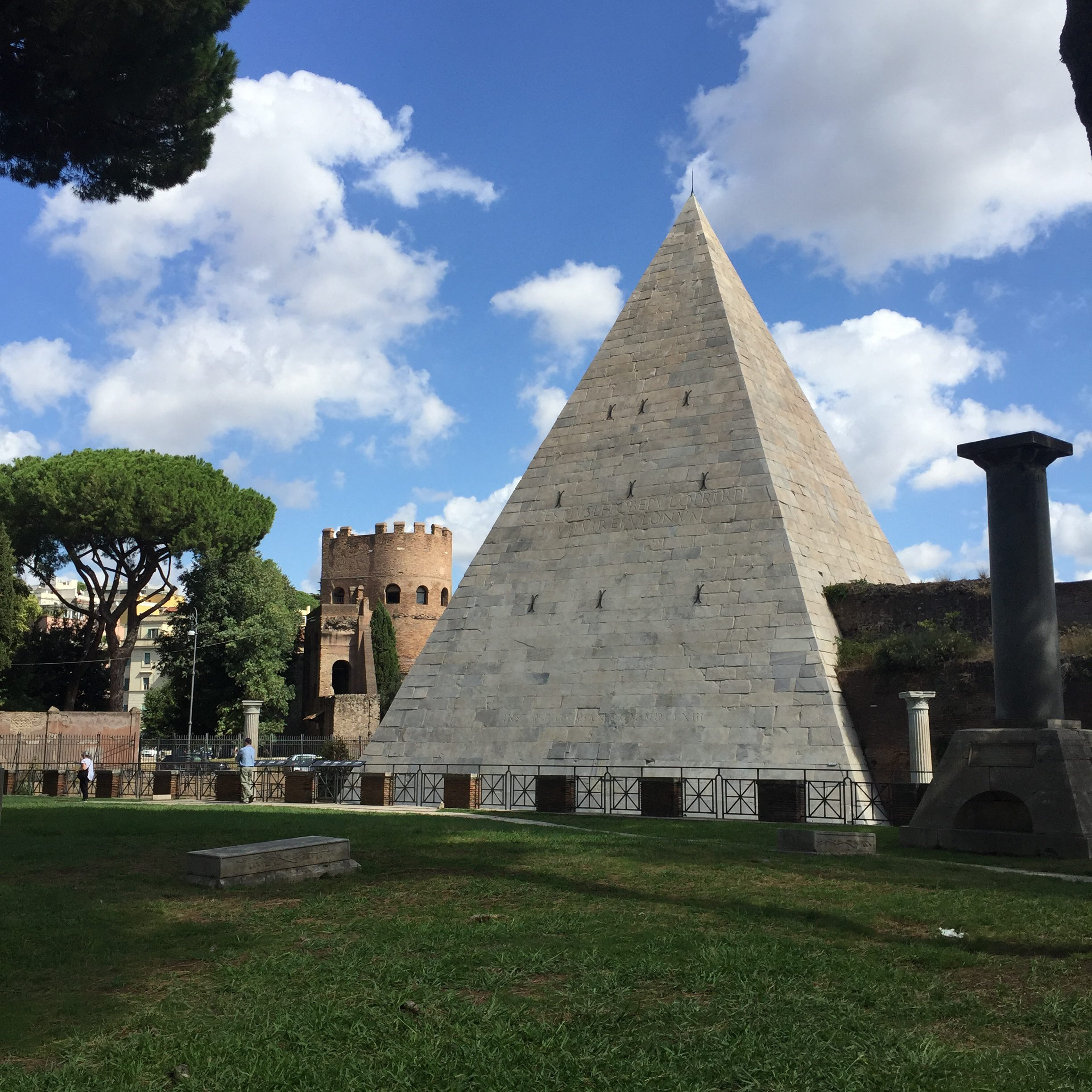 Pyramid of cestius - Here's a crazy fact I was surprised to discover when planning my trip to Italy: there is an ancient pyramid in Rome known as the Pyramid of Cestius. Modeled after the Egyptian pyramids and standing 124 feet tall, the Pyramid of Cestius was built sometime between 18 and 12 B.C as the tomb for Gaius Cestius, a Roman senator and general. As someone who has not yet made it to Egypt, it was pretty incredible to see. I imagine, even for someone who has been to Egypt, the juxtaposition of a pyramid in the middle of Rome would still be worth checking out. Opportunities to tour the inside of the pyramid are limited to the 2nd and 4th Saturday of the month, but you can also check out the outside 24 hours a day, as it is located right on the side of the road.