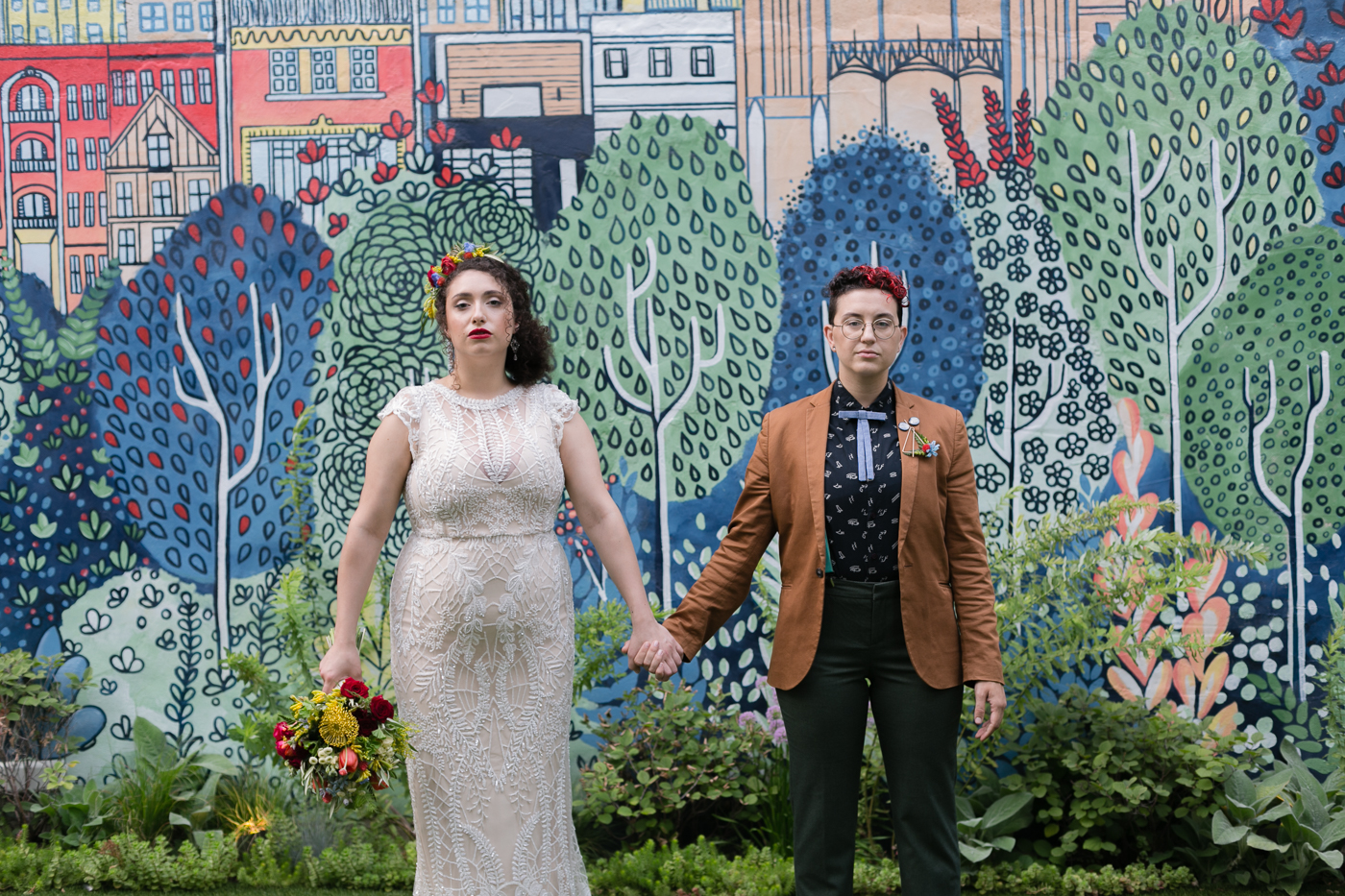 Styled at the Lytle House - Thistle and Twine Atelier joined forces with EcoWilde Flower Co., The Lytle House, Mignonette Bridal, Nika Vaughan Makeup Artists and Lonesome Traveler to bring a fun and colorful LGBTQ styled urban Chicago wedding. Check it!