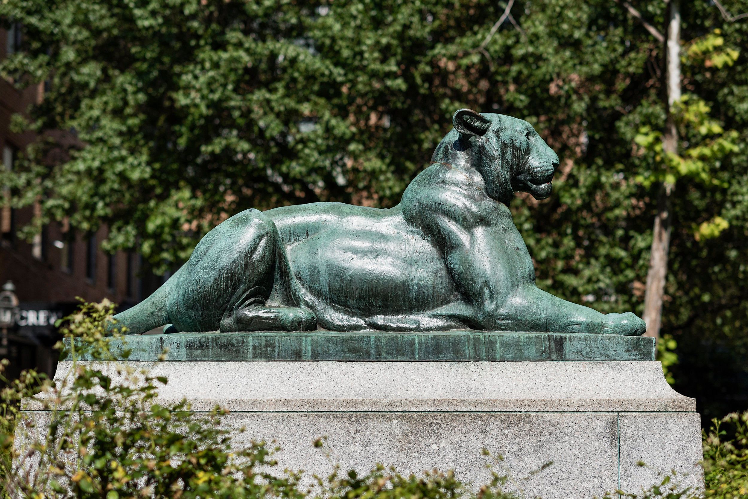 """The Princeton Tiger"" bronze statue in Palmer Square, Princeton, New Jersey"