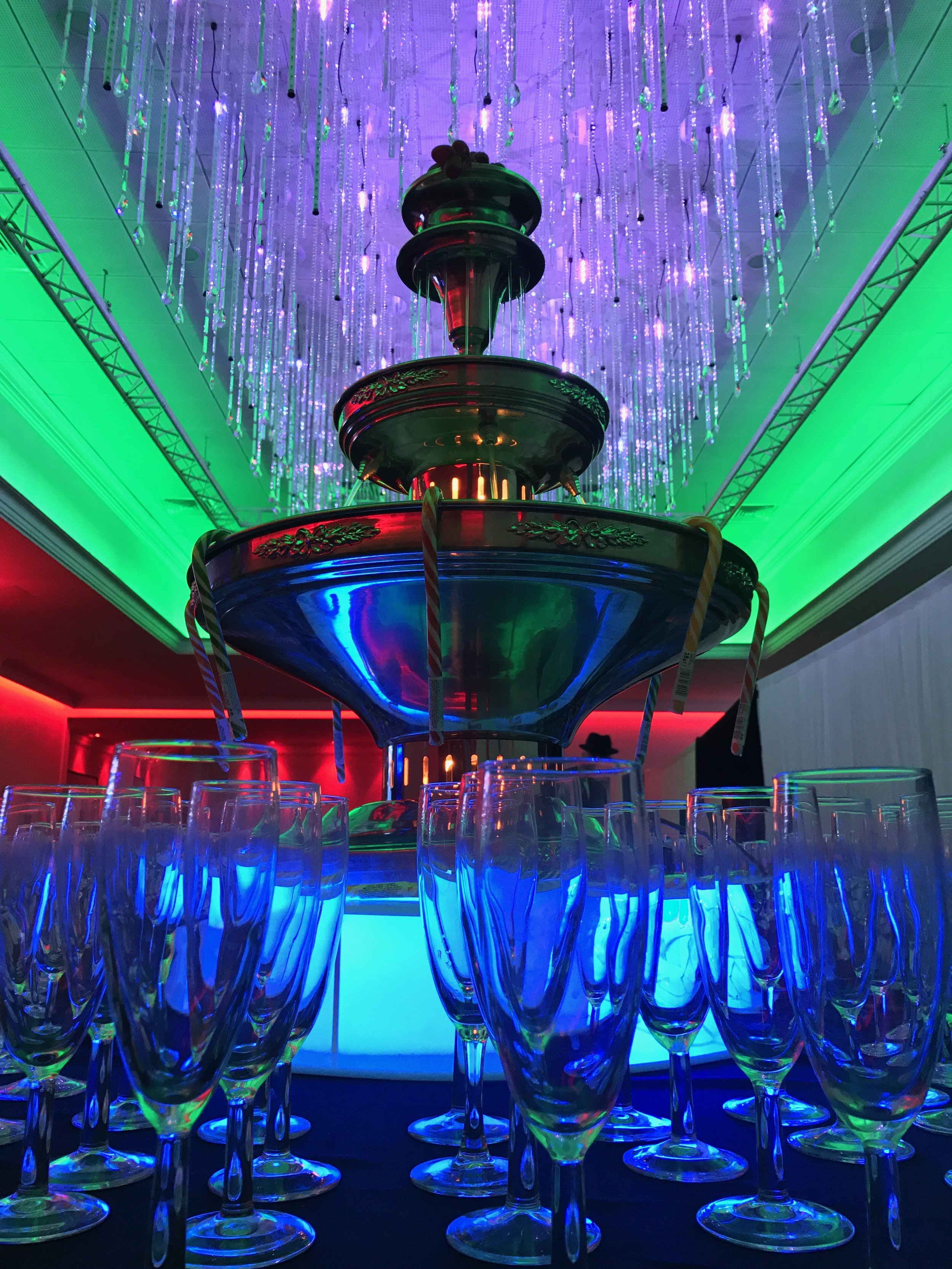 Champagne Fountain with Flute Glasses