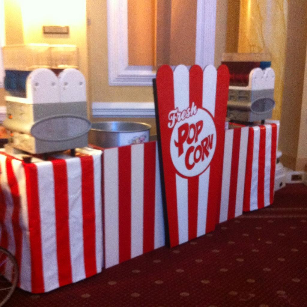 Popcorn and Slush serving stations