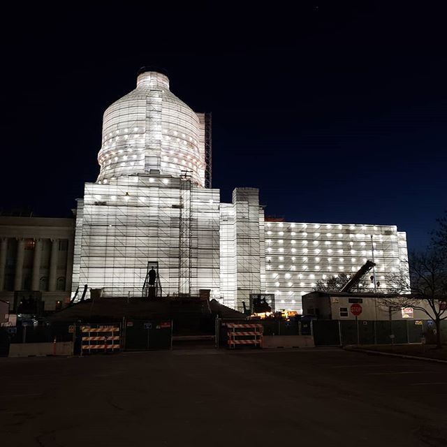 My walk to work this morning was different than last year.  The Capitol is under going  some very needed repairs. It is wrapped up and lite up! It is a bright beacon seen for blocks.  Very pretty.