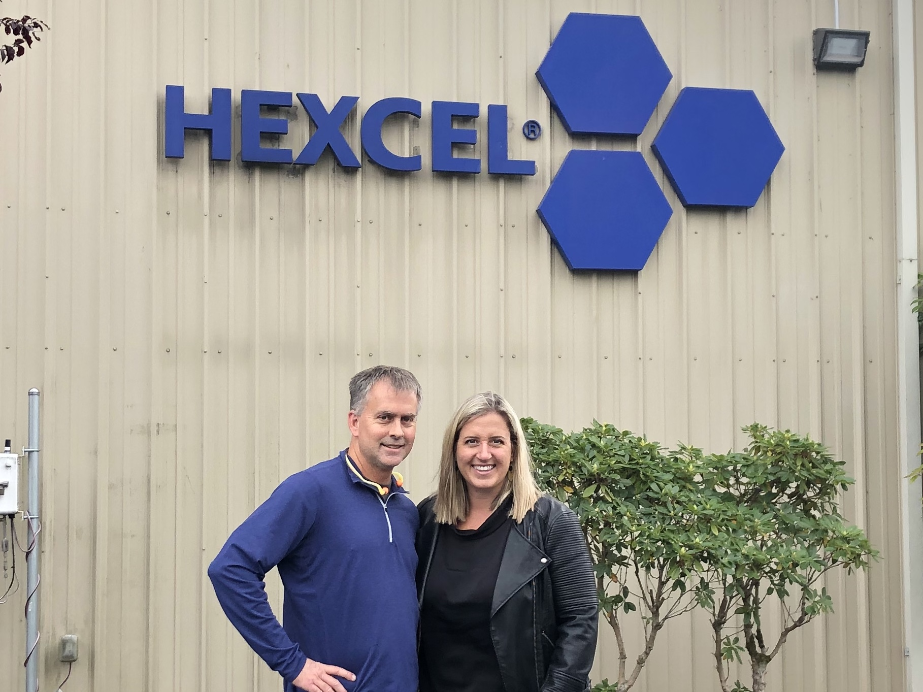 City Council Member, Brad Adams, and I taking a tour of Hexcel. A great example of light manufacturing, Hexcel produces honeycomb products for the aerospace industry. Adams has spent his career with the company.