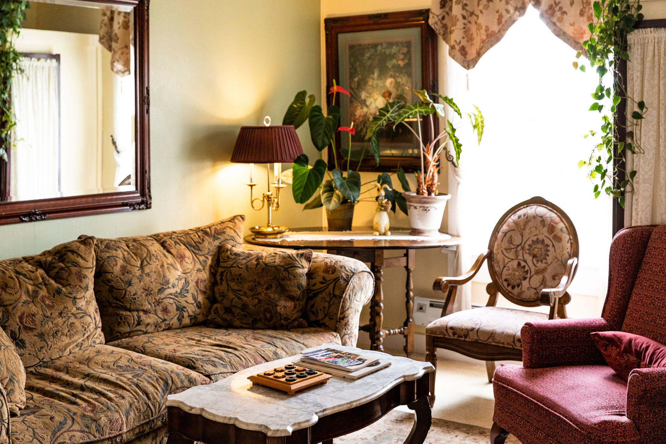 The charming parlor at The Headlands Inn Mendocino B&B