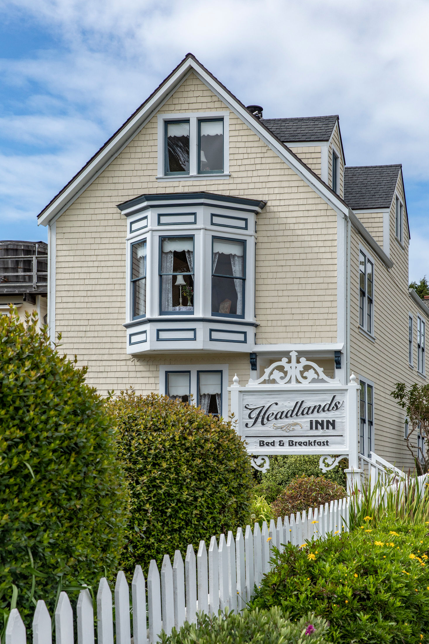 Charming Victorian architecture at Headlands Inn Bed & Breakfast in Mendocino, California
