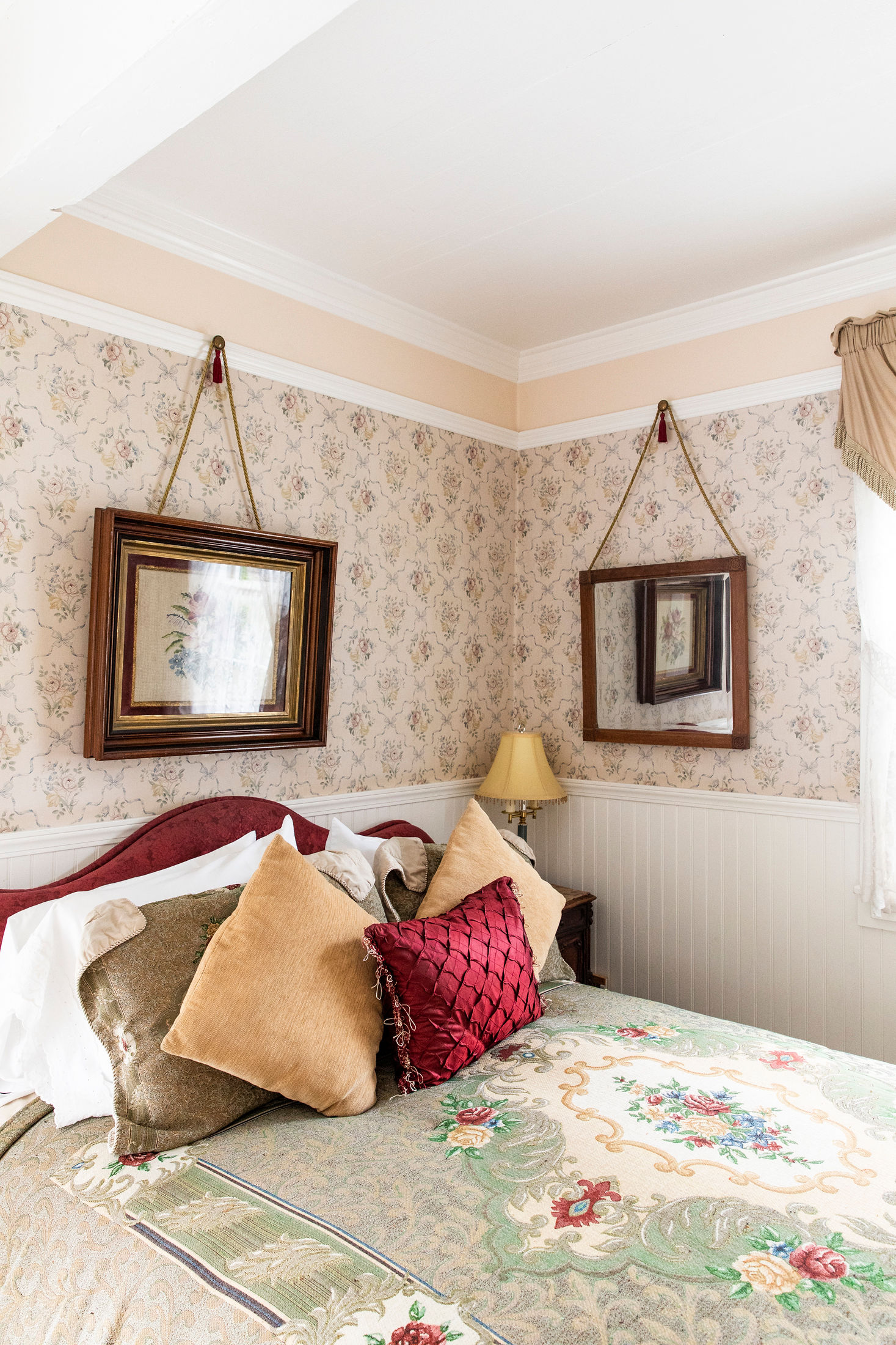 charming Victorian details in the Patricia Stofle Room at The Headlands Inn in Mendocino, California