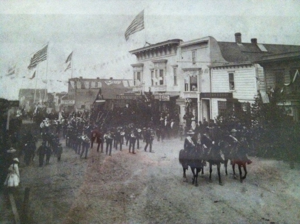 The building that houses the Headlands Inn was orignally located on Main St., Mendocino, Ca. Photo is 4th of July circa 1890.
