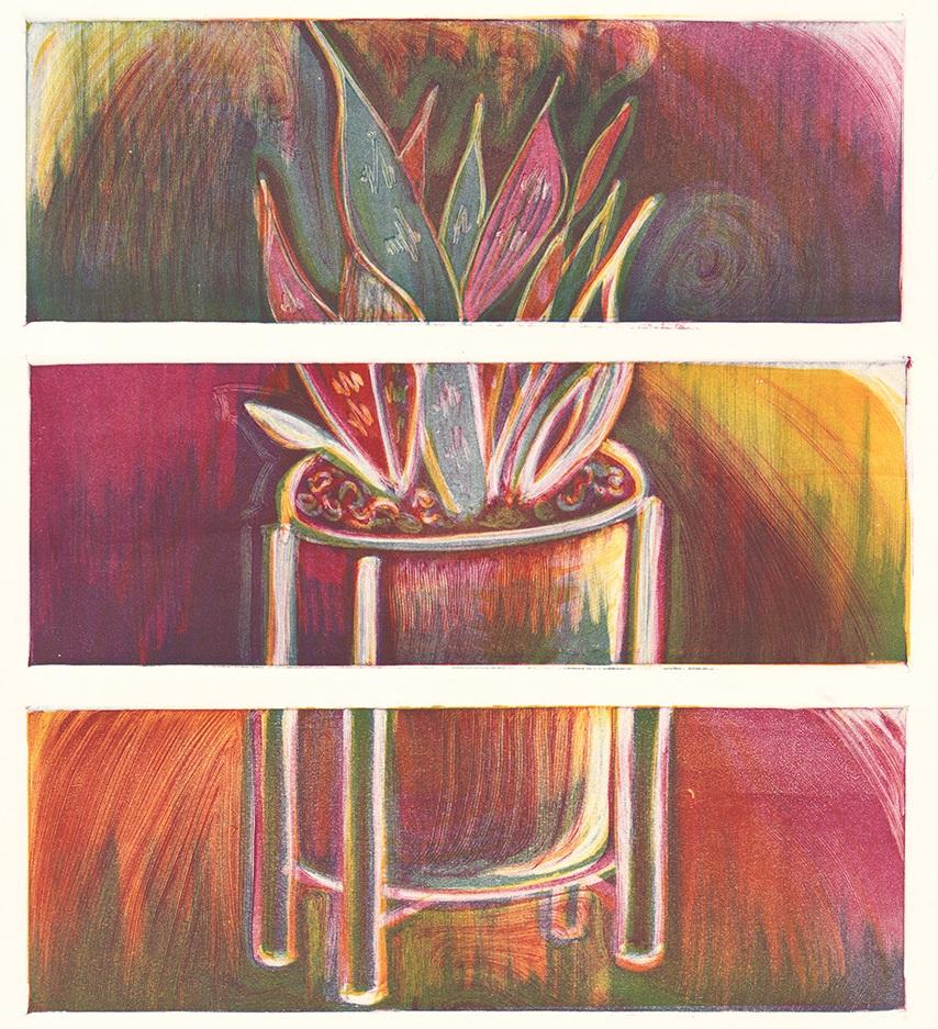 "Tres snake plant 2019 | monotype | Image: three of  12"" x 4"""