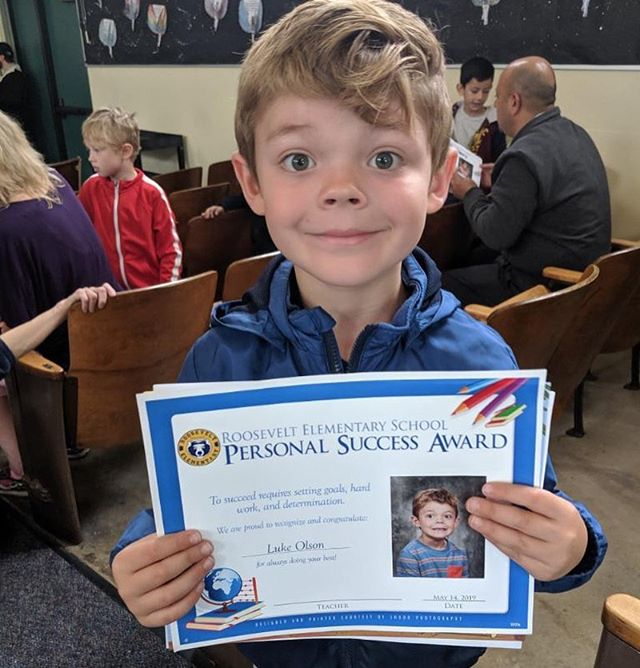 Is this not the most adorable picture ever? Luke just earned the personal success award at Rosevelt Elementary. #prouddad