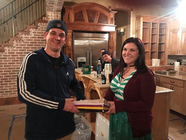 @sarahscripty and I continue our tradition of handing off the script notes at the end of the last day of production. So glad to have you out in Arkansas for @maxwinslowmovie