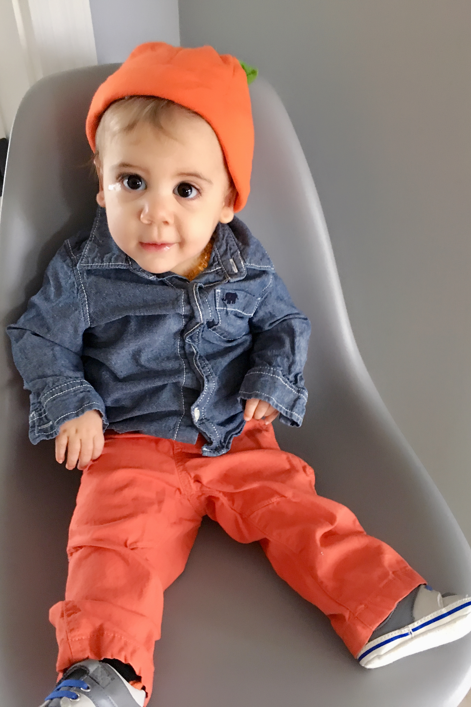 - We got a lot of wear out of this pumpkin hat from Old Navy. It was great to have this for Fall activities like pumpkin picking and apple picking! It was always a hit. His orange pants and denim shirt were hand me downs from big brother.