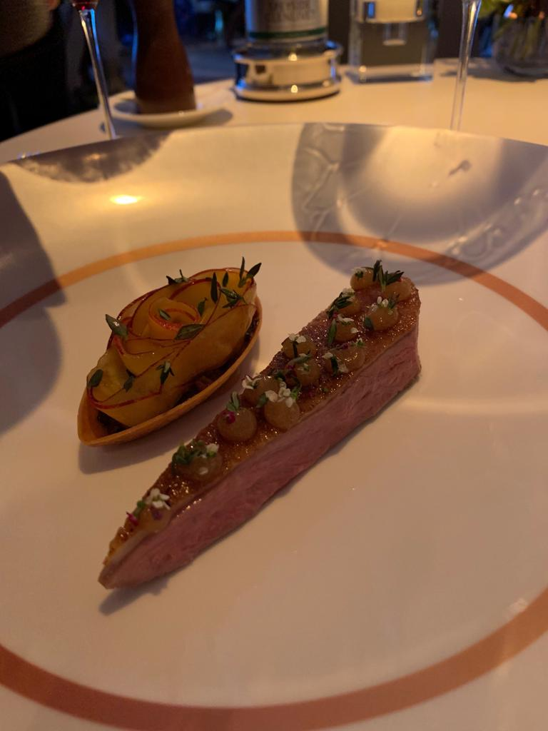 duck and red grapes, thyme, honey, timut pepper