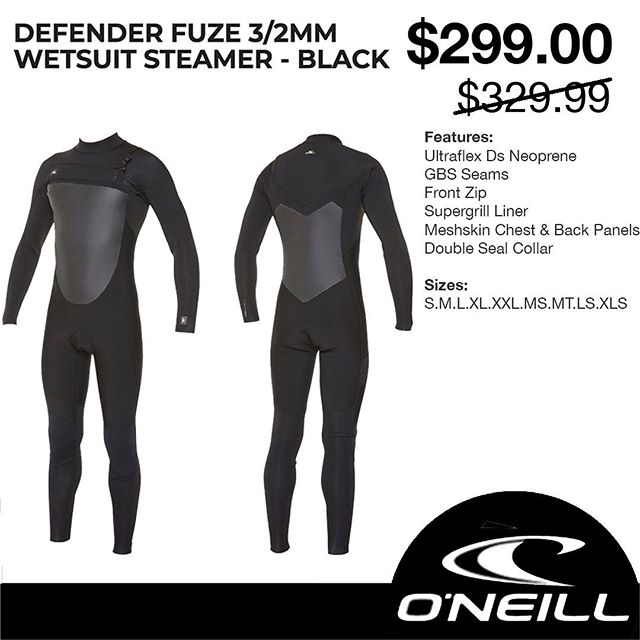 ⚠️ $299.00 // SPECIAL ⚠️ O'Neill Defender Fuze 3/2mm Steamer. _ Brand new order of Steamers coming in for Winter.  Get yours today @katanasurf.  _ CALL or PM for more info 🤙 #MakeItKatana