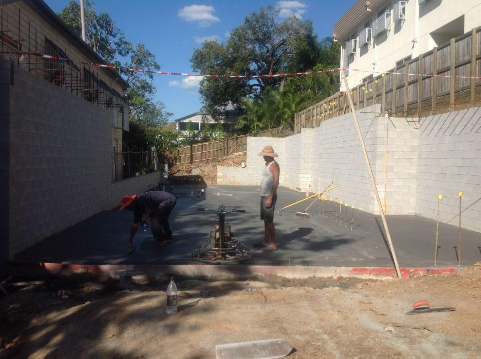 Ground floor slab work nearing completion.