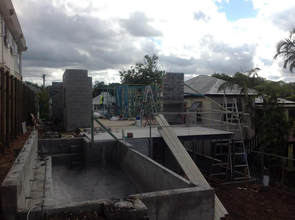 Rear shot of first floor and pool area.