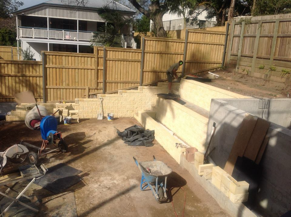 Retaining walls up and the rear yard is begining to take shape.