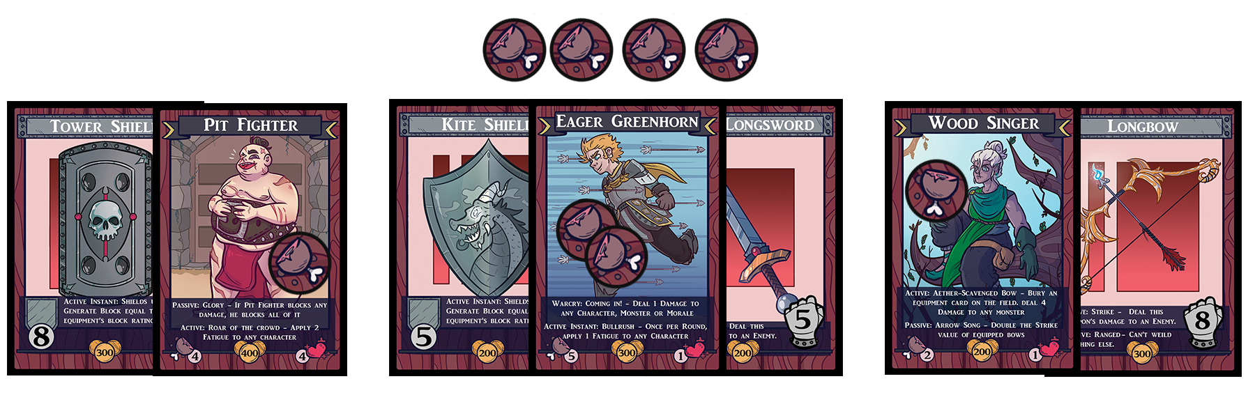 We join this fictional player at the start of their second turn, and they have a pretty nice board set up. The first thing they have done is collect  FOUR fatigue tokens , and arranged them along the top of their  'Field'  (Where they'll play their heroes at a max of four.)   The Pit Fighter on the left has been equipped with a Tower Shield, which allows him to block up to  eight  points of damage. We can see he's already taken an action, to either block or perhaps collect a loot card, but he has a  Fatigue Rating  of four, so he's good to stay out for a while longer yet.   The Eager Greenhorn has a smaller shield and a sword, with two out of five actions taken for him. The cards can be  tucked  under the Hero card to show they're equipped with the weapons. Once you  deploy  a Hero or weapon card, they cannot be swapped out until the Hero leaves the field.   The ace up the sleeve for our fictitious player is the  Wood Singer . While they only have a Fatigue Rating of two, this card has a passive ability to  DOUBLE  the attack power of ranged weapons. And it just so happens, this Wood Singer is wielding a Longbow.  Sixteen damage  in a single action is more than enough to wipe out basic monsters, but when the  evolve  it may take a few more shots!