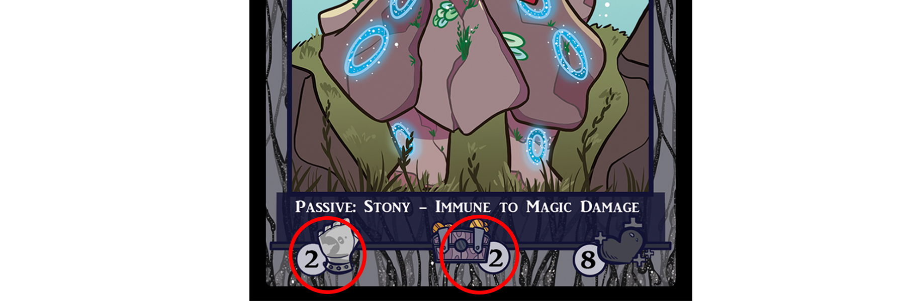 Each monster has an attack value, and some card text which dictates how it interacts with the game along with how many loot cards they drop when killed, indicated by the centre chest symbol.