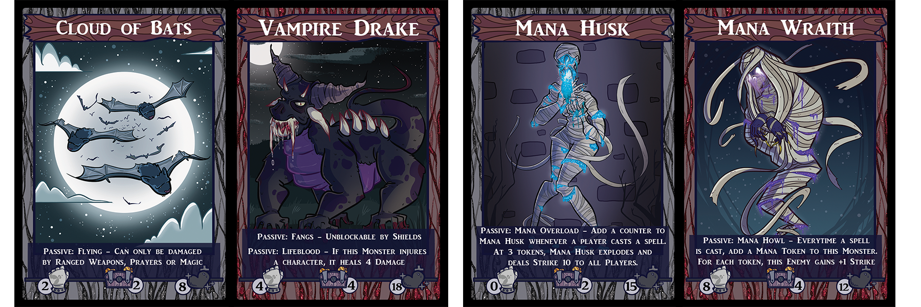 Cloud of Bats evolves into a Vampire Drake, a fearsome creature that can cut through shields like butter. A Mana Husk, an unstable remnant of a crystal-abusing mage, becomes a Mana Wraith; a vengeful spirit which grows stronger as players use magic.