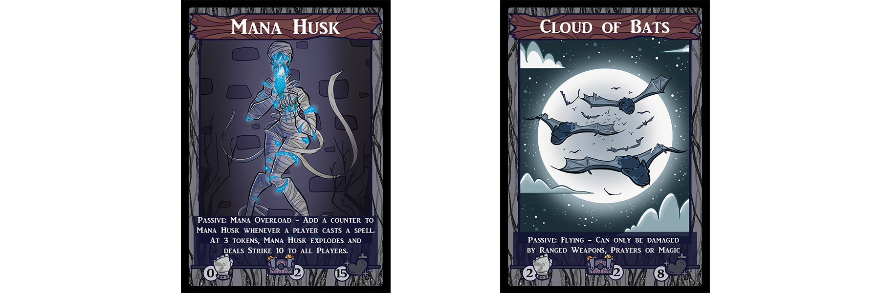 The basic monsters Mana Husk and Cloud of Bats. Mana Husk's passive card text means every time a spell is cast a counter must be placed on the card. Once three tokens are applied, the Husk explodes and deals Strike damage to all players. Cloud of Bats instead simply cannot be damaged by melee weapons, as they are flying out of range.