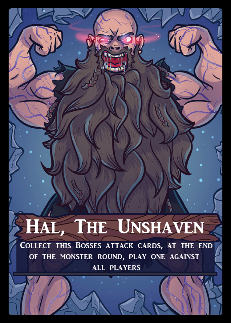 Represented in the game with an oversized card, each boss will come with its own mini-deck of attacks and powers which are far and above any monsters abilities yet seen in the Dungeons.