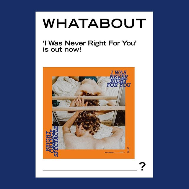 Those of you who bought a copy of @brightorangespectacle's 7 inch would have heard how awesome it is already BUT we're proud to say that 'I Was Never Right For You' is now available on all digital platforms!