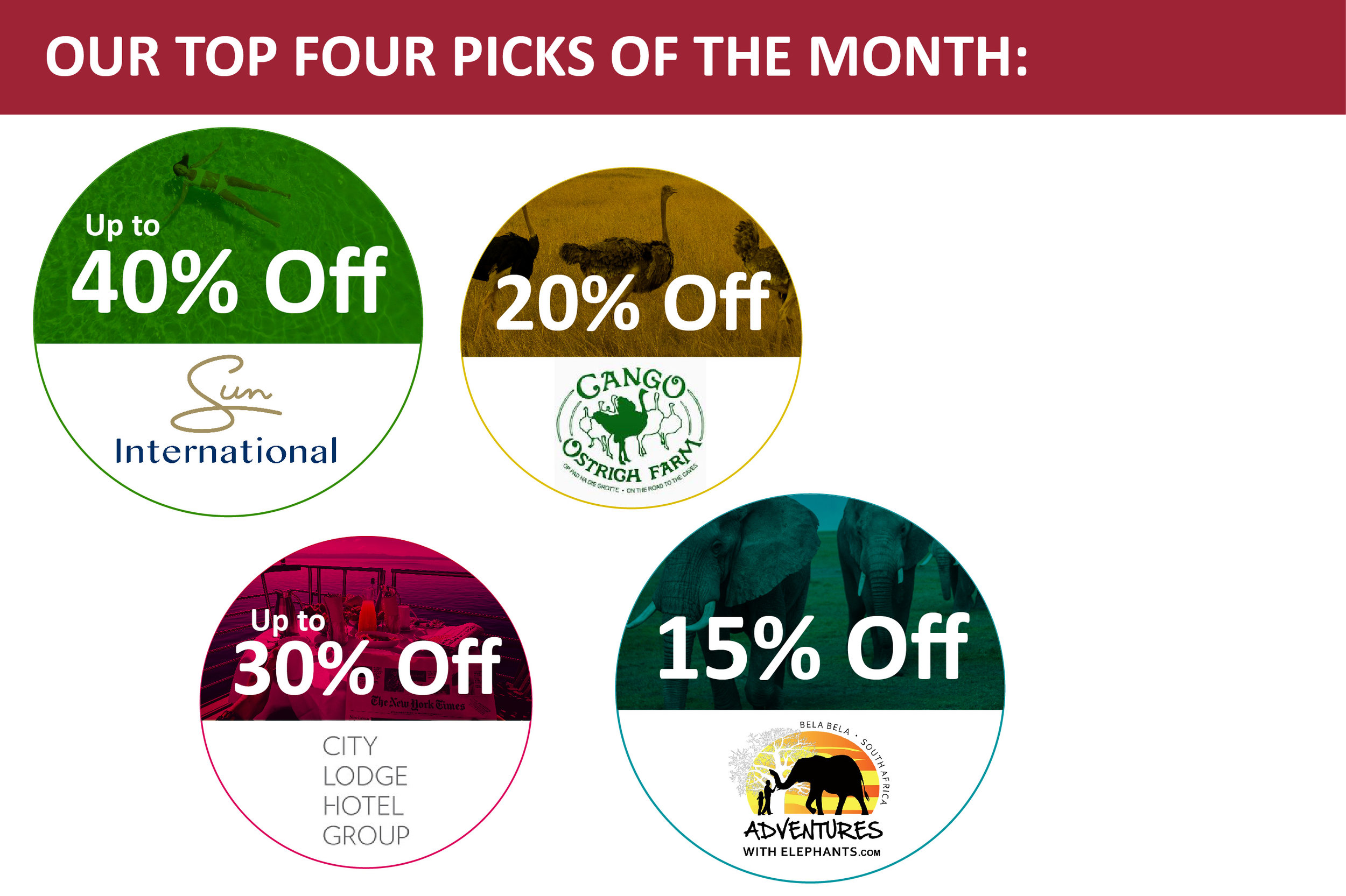 OUR TOP 4 AGILITY REWARDS TRAVEL PICKS OF THE MONTH: - Up to 40% discount from Sun City Resort Hotels20% discount on guided tours at Cango Ostrich FarmUp to 30% discount at Courtyard Hotels, City Lodges Hotels and Town Lodges15% discount off elephant activities