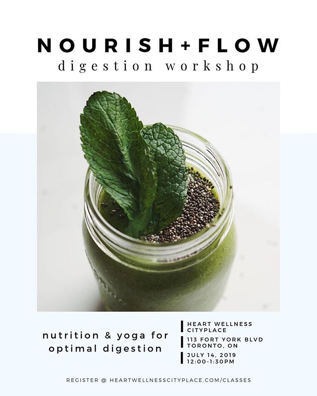 | | WORKSHOP | |  Nourish + Flow for [Digestion]  w/ @alessandra.cardin  Sunday July 14, 2019 12PM Pre-registration Required Book through our website . .  In this workshop, you will explore a holistic approach to detoxing and improving your digestion. The first half of the workshop consists of a 45-minute vigorous flow class that focuses on building core strength, and stimulating the digestive system. During the accompanying interactive lesson on nutrition and lifestyle, you will then learn about the foods and lifestyle practices that also support detoxification and digestion. Get excited to try some delicious healthy plant-based snacks that are perfect for supporting digestive health. . . #wellnessworkshop #wellness_cityplace #cityplace_wellness #cityplacetoronto #nourishflow #nourishflowseries #digestion #mindfulness #toronto