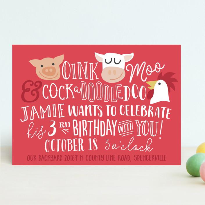 Oink & Moo birthday party invitation