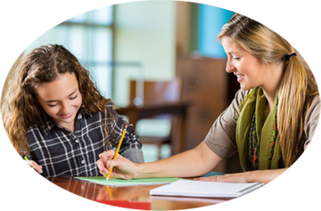 tutor working one-on-one with student at Boston Tutoring Center, West Roxbury, Mass