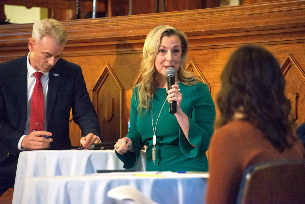 Democrat Kendra Horn answers a question Wednesday, Oct. 24, 2018, during a debate for Oklahoma's 5th Congressional District. (Michael Duncan)
