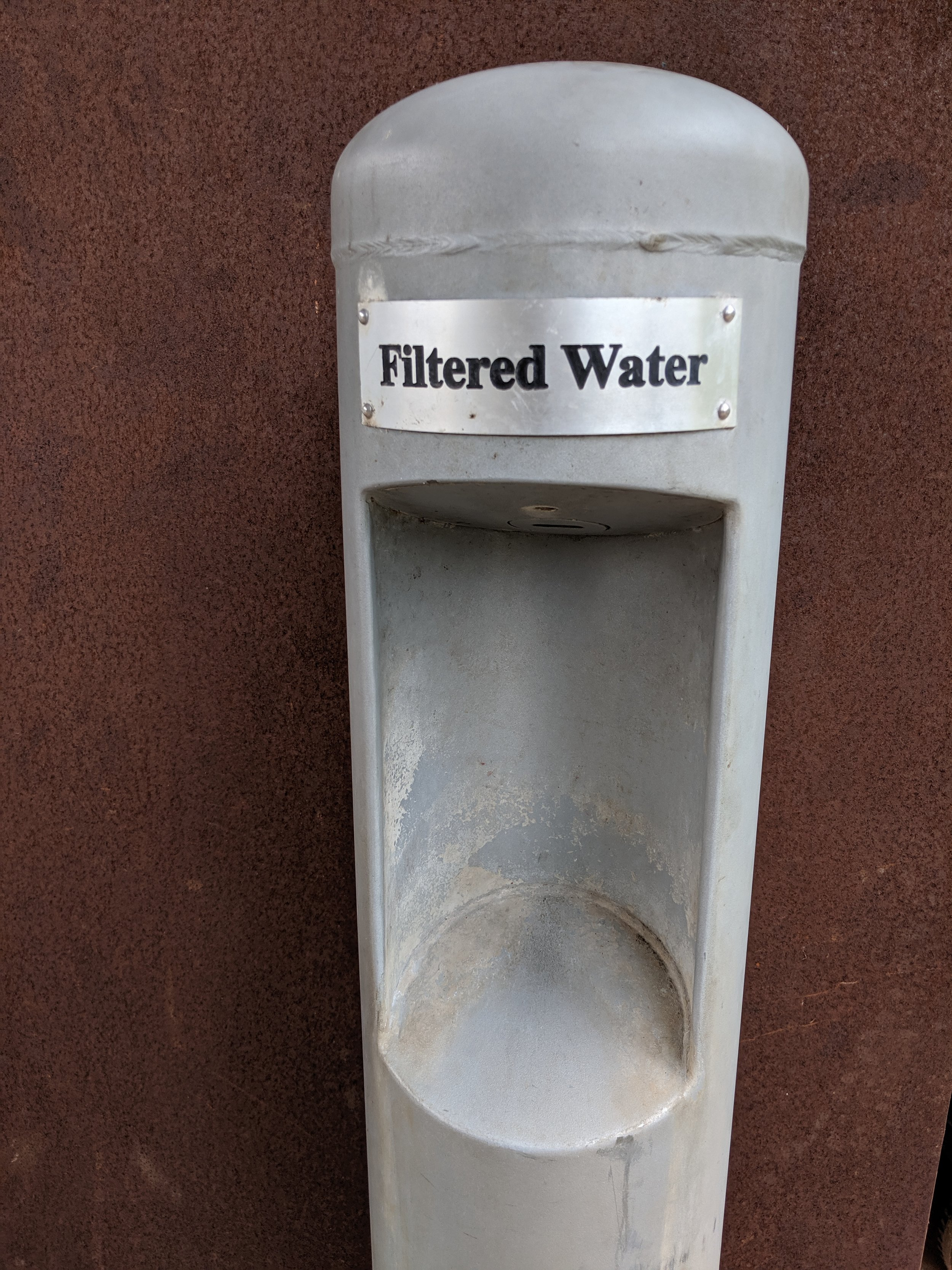 A water bottle refill station on PHP East, located at the Salado Outdoor Classroom.