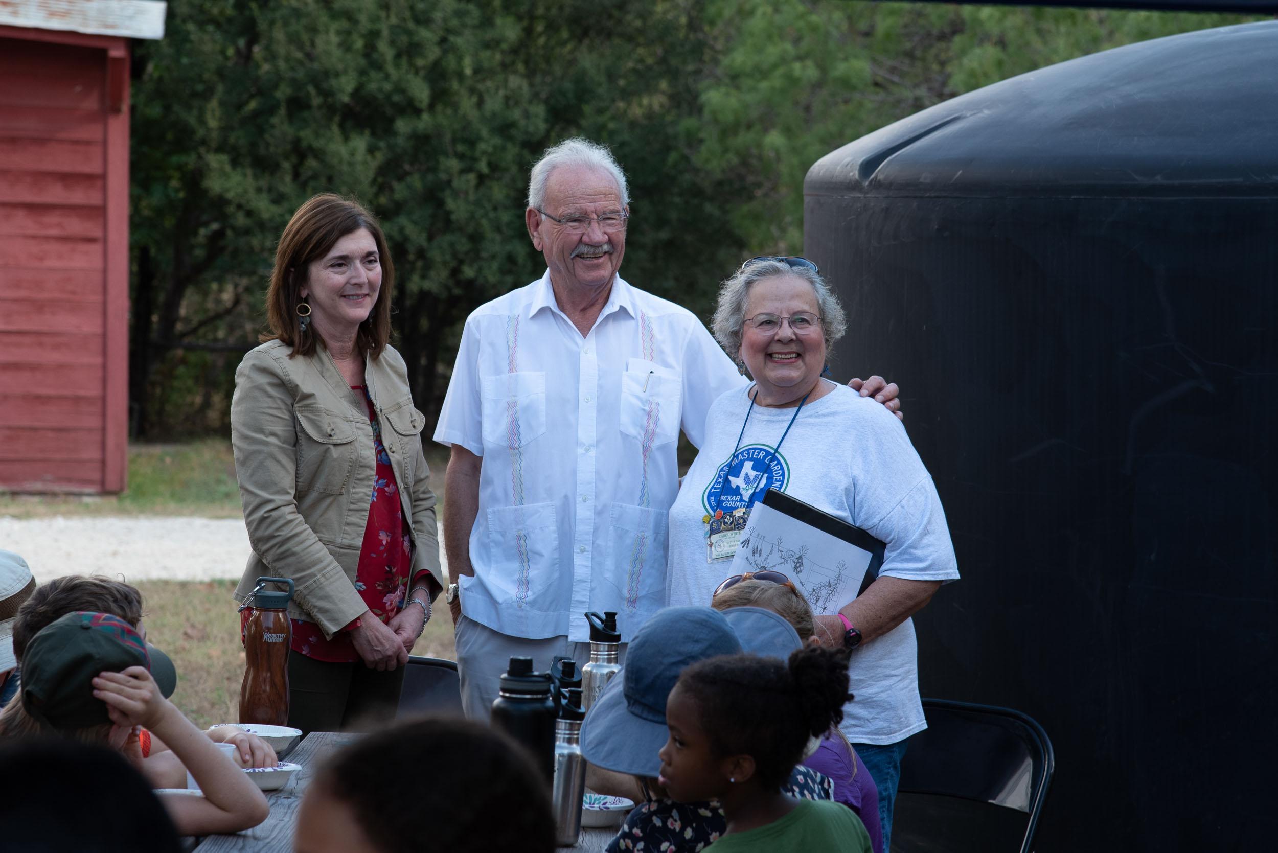 From left, Denise Gross (Executive Director of the Phil Hardberger Park Conservancy), Phil Hardberger (Former San Antonio Mayor and park namesake), and Carol White (Bexar County Master Gardener).