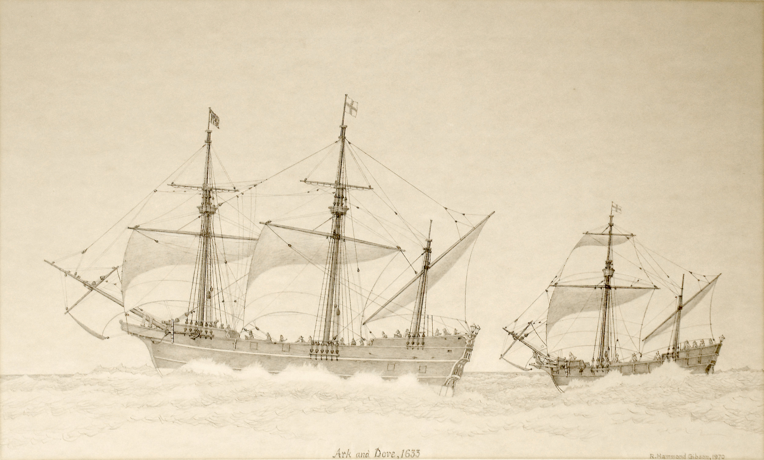 An artist's conception of the Dove showed the vessel with a two-masted rig, though square-rigged on the mainmast, which is now thought to be unlikely. R. Hammond Gibson, c. 1970. Collection of the Chesapeake Bay Maritime Museum, 1970-28-1.