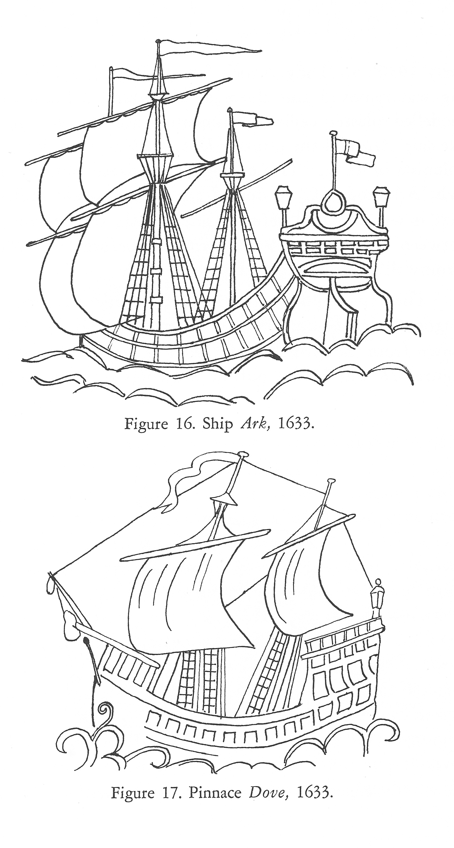 Pen-and-ink drawing of plaster ornaments that adorn Hook House, home of Anne Arundell Calvert in Tisbury, Wiltshire, England. Figures 16 and 17, Colonial Vessels: Some Seventeenth-Century Ship Designs (1962), William A. Baker. Barre Publishing.