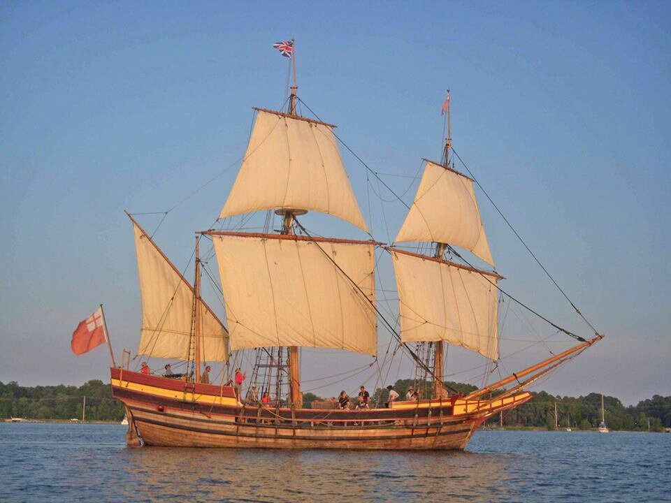 The Baker/ Richardson Dove with a common but cumbersome three masted ocean going rig complete with: (aft to fwd/ bottom to top) mizzen lateen, main course, main topsail, fore course, fore topsail, and a furled spritsail
