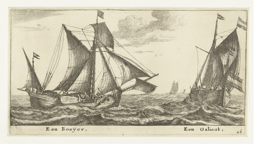 Reinier Nooms. 1650. Een Boeÿer, Een Galioot. The author suggests that the standing gaff rig to have not yet been in common use during the 1630s, otherwise, Nooms' print provides an accurate depiction of a common Dutch Boyer of the early 17th century.