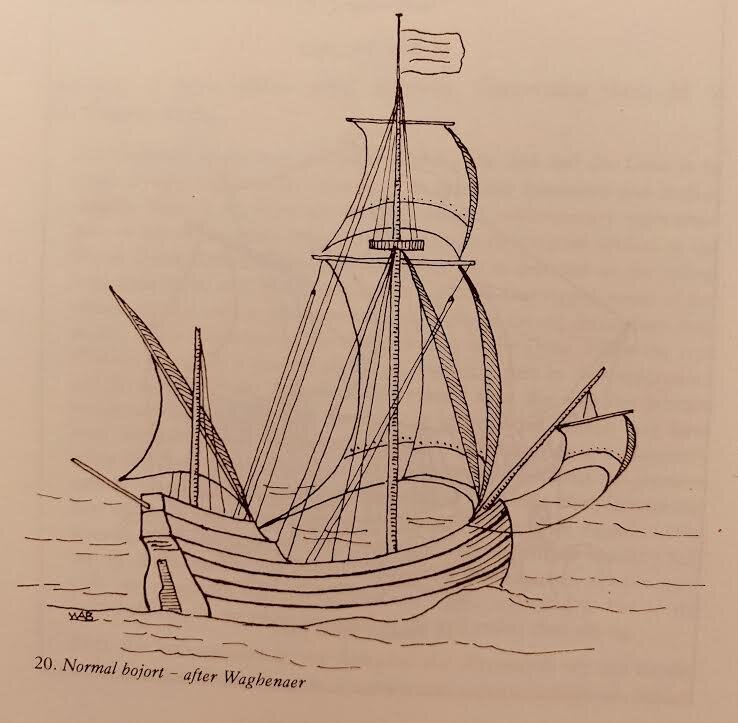 Lucas Waghenaer's illustration of a square bojort (1584). (Baker, William A. The Mayflower and other Colonial Vessels)