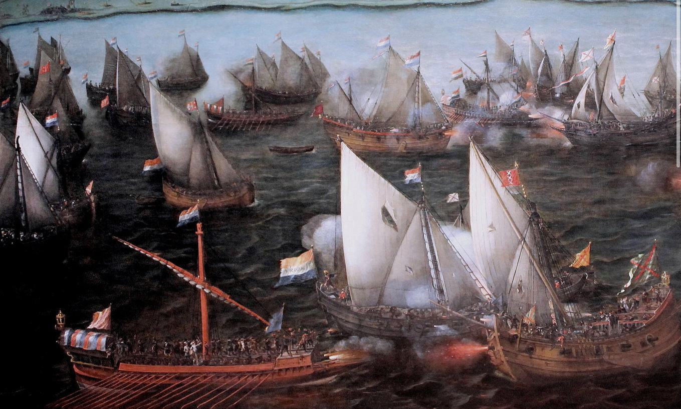 """Hendrick Cornelisz Vroom. 1566-1640. Battle between Dutch and Spanish ships on the sea of Haarlem in 1573. Note the square sterned boyer top center as well as the dominance of the sprit rig type in this collection of fore and aft coasting vessels. Bottom left we have a Spanish """"galley"""" a common Mediterranean type carrying a large lateen and dozens of rowing stations. The lateen sail replaced the square sail in the med by the 6th century and would come to be the primary aft most sail on northern European vessels all the way to the 18th century. The lateen is thought to have been the first fore and aft sail. Lateen comes from the french """"latine"""" which simply means """"latin"""". Vroom may be one of the most helpful painters to study as he fits squarely within the time period of the original Dove. Compare this image with Willem van de Velde the Younger below."""