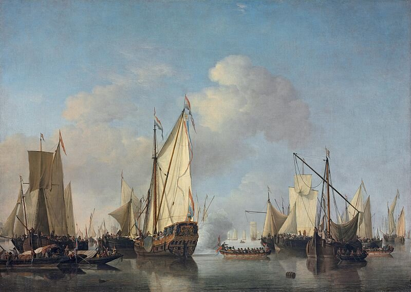 Willem van de Velde the Younger. 1633- 1707. A States Yacht and other Vessels in a Very Light Air.  Here we see a large sprit rigged yacht with an ornately caved transom (center) surrounded by a few scandalized spirt riggers as well as some sailing gaffers with square topsails (left) and a brailed gaff rig in the distance (right). The mid to late 17th century was an exciting time of innovation- the center board in England, the gaff rig, brailing sails, as well as the prevelence of frame first construction.
