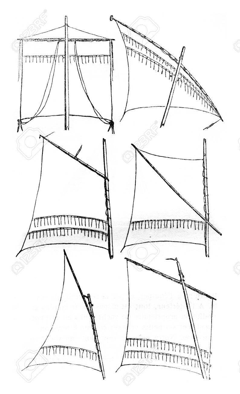 A key for sail types: R to L, top to bottom: square, lateen, gaff, sprit, gunter, and standing lug