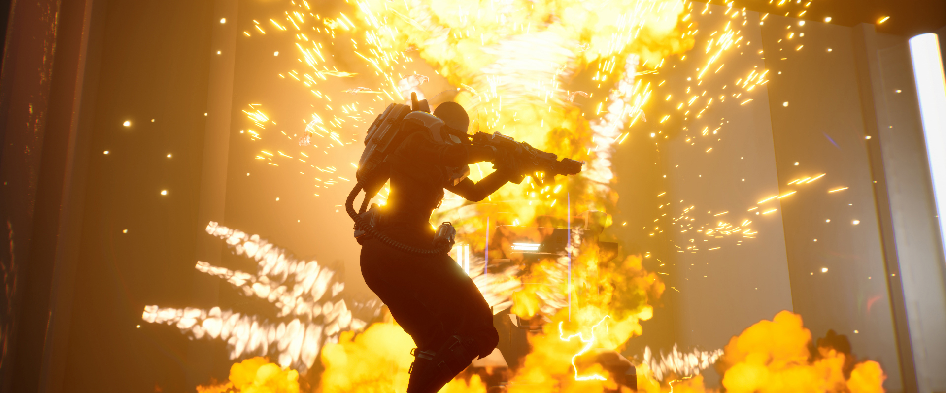 Screenshot from game Lemnis Gate. Character's silhouette appears in front of an exploding object.