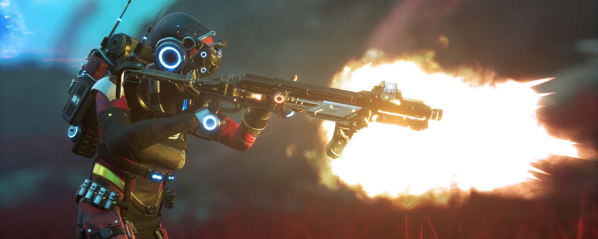 Turn Based FPS Lemnis Gate Character fires shotgun.